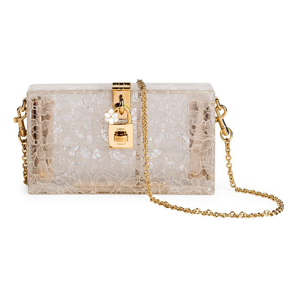 DOLCE & GABBANA lace box bag - Beautiful evening bag, in lace-lined plexiglass. Removable...