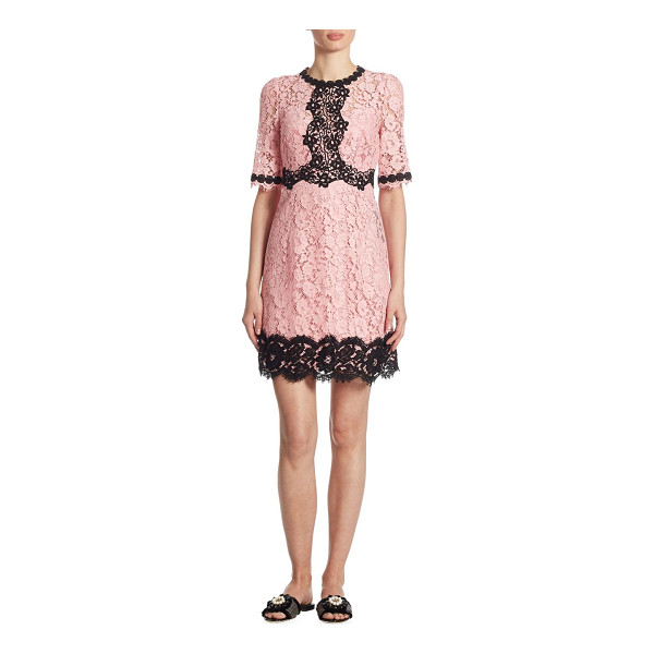 DOLCE & GABBANA lace flare dress - Floral lace dress with chic contrast trim. Roundneck....