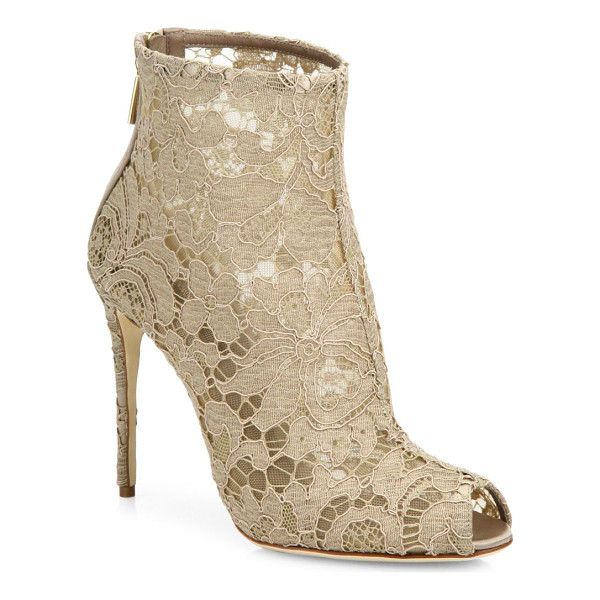DOLCE & GABBANA lace peep toe bootie - Elegant lace defines luxe peep-toe bootie. Self-covered...