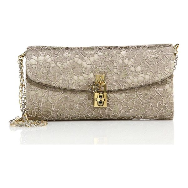 DOLCE & GABBANA lace pouchette chain clutch - Lace clutch with beaded chain strap and padlock detail....
