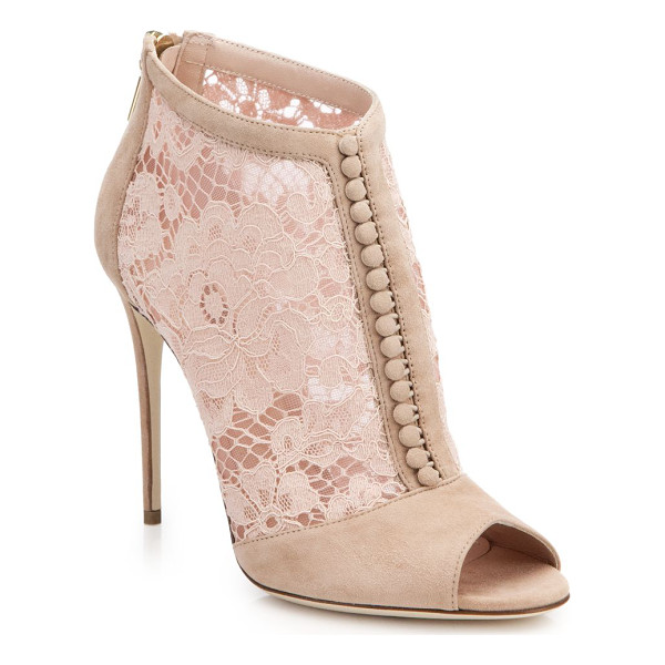 DOLCE & GABBANA Lace & suede open-toe booties - Step into Dolce & Gabbana's signature high-fashion elegance...
