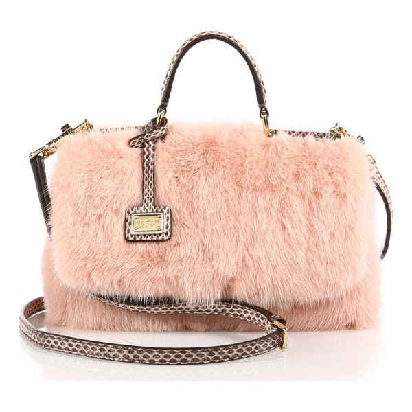 DOLCE & GABBANA Mini mink fur & ayers shoulder bag - Plush mink fur pairs beautifully with snakeskin trim in a...