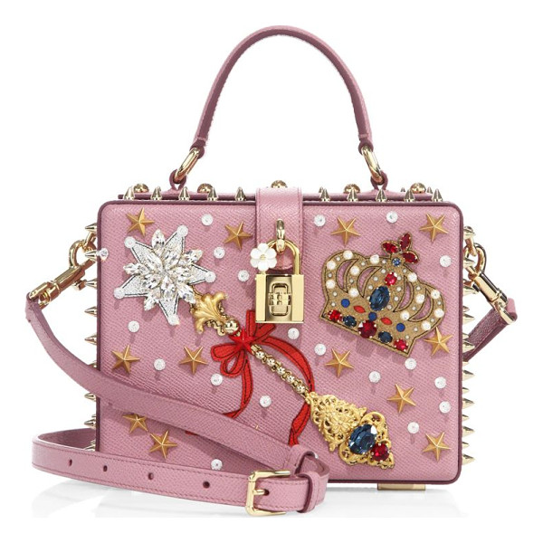 DOLCE & GABBANA miss dolce crown-embellished leather top-handle bag - Boxy star-studded leather bag with regal embellishment. Top