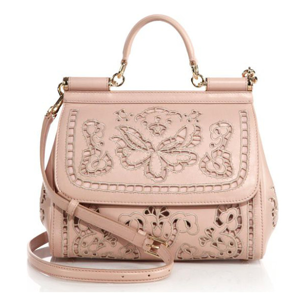 DOLCE & GABBANA sicily medium embroidered top-handle satchel - Luxe leather meticulously crafted in an embroidered eyelet...