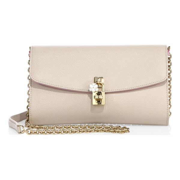 DOLCE & GABBANA saffiano leather chain clutch - Saffiano leather flap style with polished hardware....