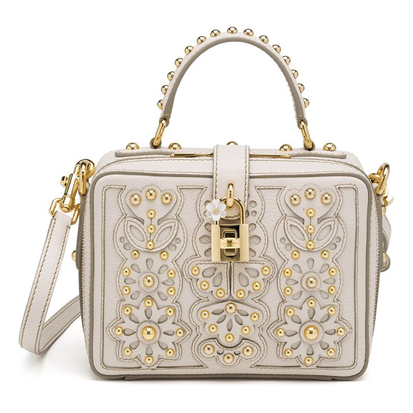 DOLCE & GABBANA Studded laser-cut top-handle bag - Laser-cut leather is stitched in a feminine floral design...