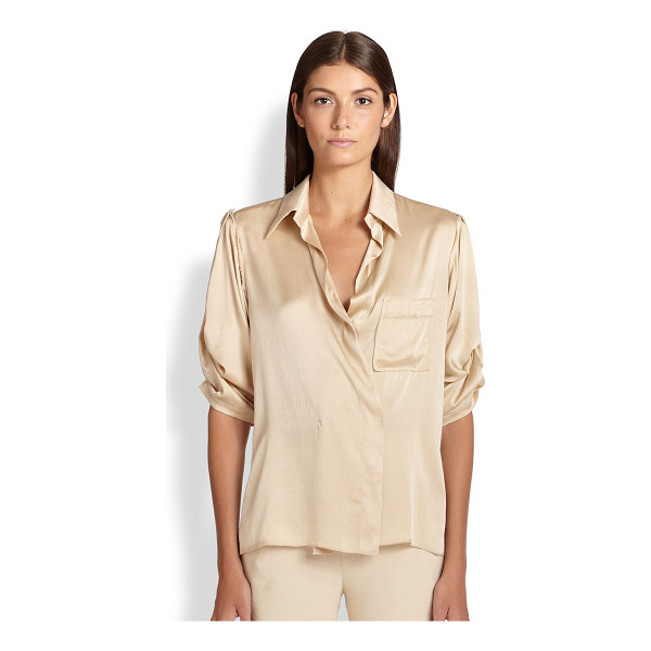 DONNA KARAN Stretch silk surplice blouse - The classic button-down is transformed in luminous stretch...