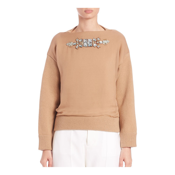 DSQUARED2 Embellished contrast sweater - A front silk panel with ornate jeweled embellishment...