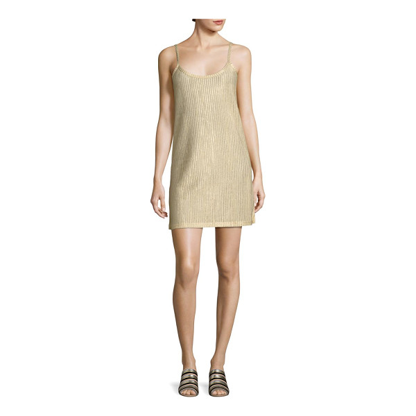 EACH X OTHER metallic rib-knit slip dress - Rib-knit mini slip dress in glimmering finish. Scoopneck.