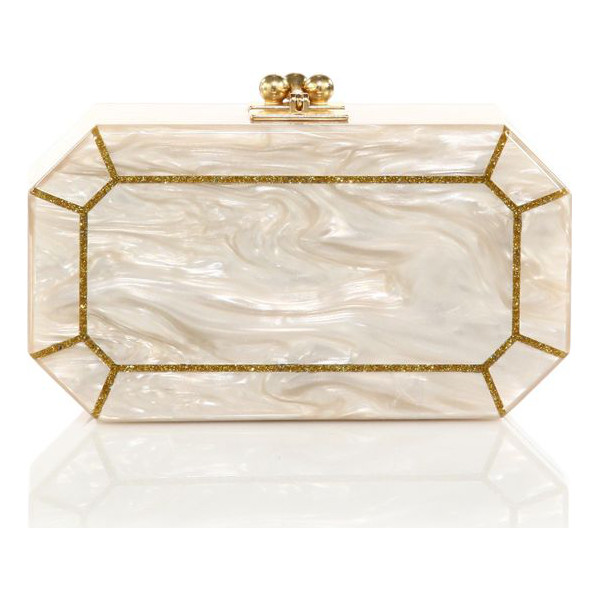 EDIE PARKER Fiona faceted acrylic clutch - Faceted octagonal silhouette in pearlescent...