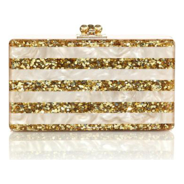EDIE PARKER jean glittered & striped acrylic clutch - A sleek silhouette crafted of smooth, hand-poured acrylic...