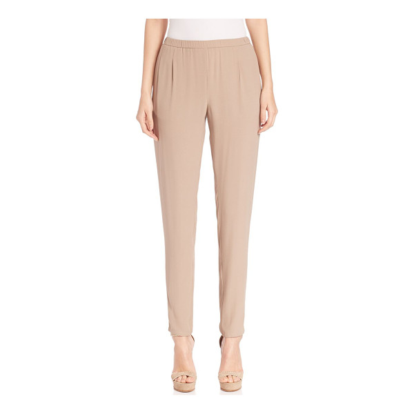 EILEEN FISHER Silk georgette pants - Relaxed pant design with ruched waistElasticized...