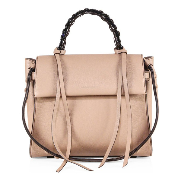 ELENA GHISELLINI angel sensua leather satchel - Sleek leather flap silhouette with woven chain handle....