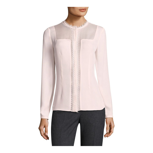 ELIE TAHARI coretta sheer insert silk blouse - Sleek lace trimmed silk blouse with sheer inserts....