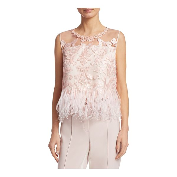 ELIE TAHARI dakotra blouse - Luxurious lace and ostrich feathers adorn top. Roundneck....