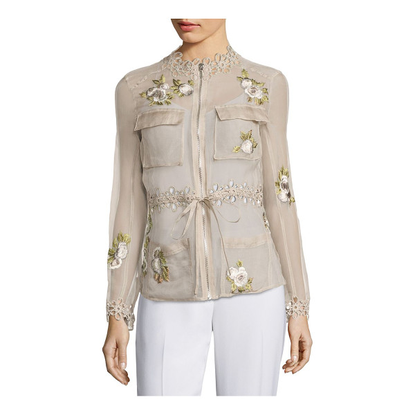 ELIE TAHARI katya silk cargo organza jacket - Fashionable jacket adorned with floral embroidery. Trimmed...
