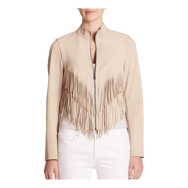 ELIE TAHARI Paulina suede fringed jacket - Tiered fringe trim highlights this texturally diverse...