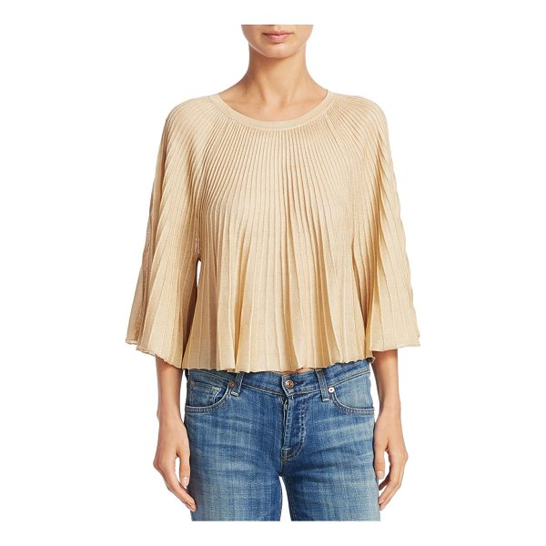 ELIZABETH AND JAMES amil pleated knit top - Pleated knit top with metallic detailing. Roundneck....
