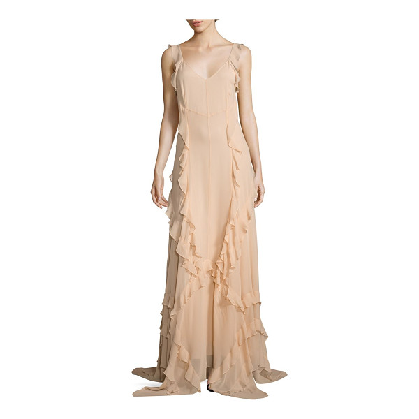 ELIZABETH AND JAMES catherine ruffle silk gown - Fluid silk gown detailed with cascading ruffle trims. Deep...