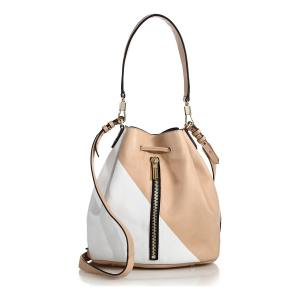 ELIZABETH AND JAMES Cynnie two-tone leather bucket bag - A beautiful two-tone design lends a bold pop to this...