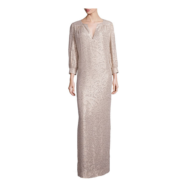 ELIZABETH AND JAMES melaney metallic jacquard caftan gown - Shimmering jacquard caftan gown in paisley motif. Notched...