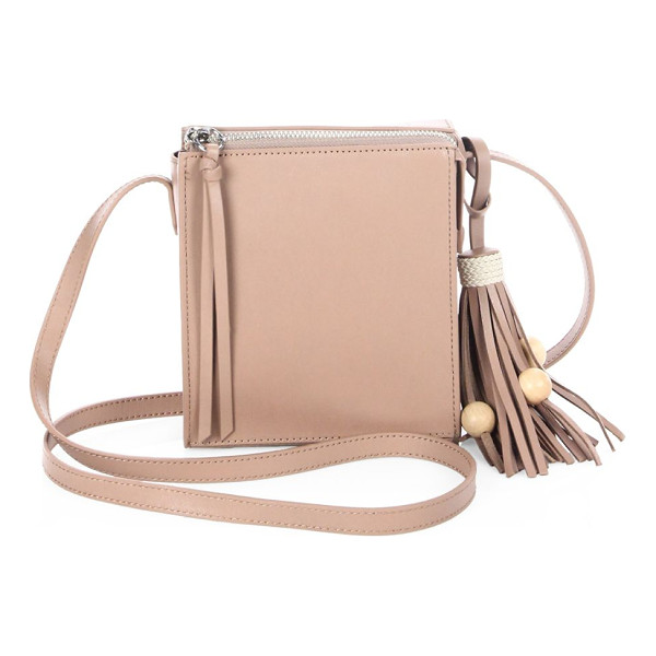 ELIZABETH AND JAMES sara tassel leather crossbody bag - Boxy smooth leather crossbody with beaded tassel. Crossbody...