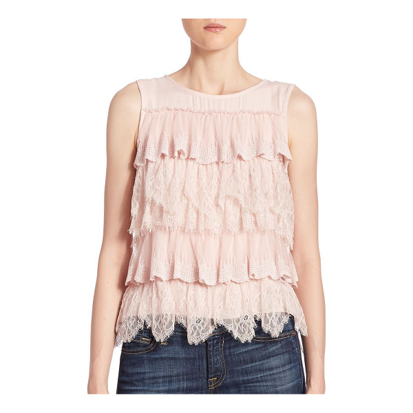 ELLA MOSS polina layered lace top - Lovely layered lace and ruffles charm this feminine top....