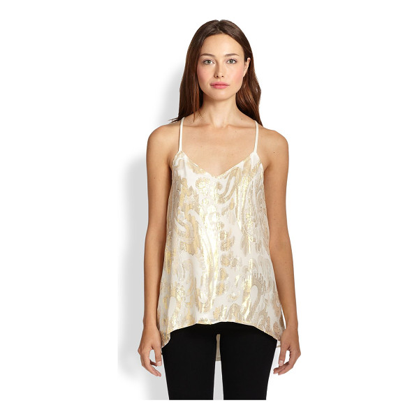 ELLA MOSS Reina metallic paisley-patterned tank - This modern, flowing tank takes on a regal air of opulence...