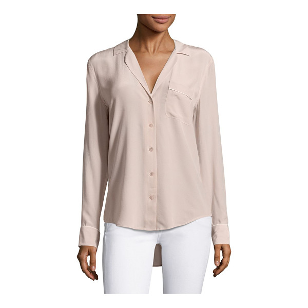 EQUIPMENT keira silk piped blouse - Silk blouse with contrast trim and hi-lo hem. Notch lapels....