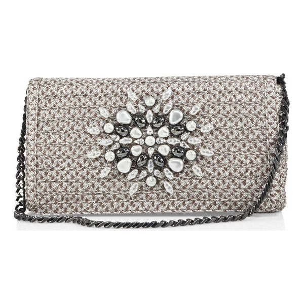 ERIC JAVITS devi embellished convertible clutch - Woven Squishee? envelope clutch with stone embellishment.