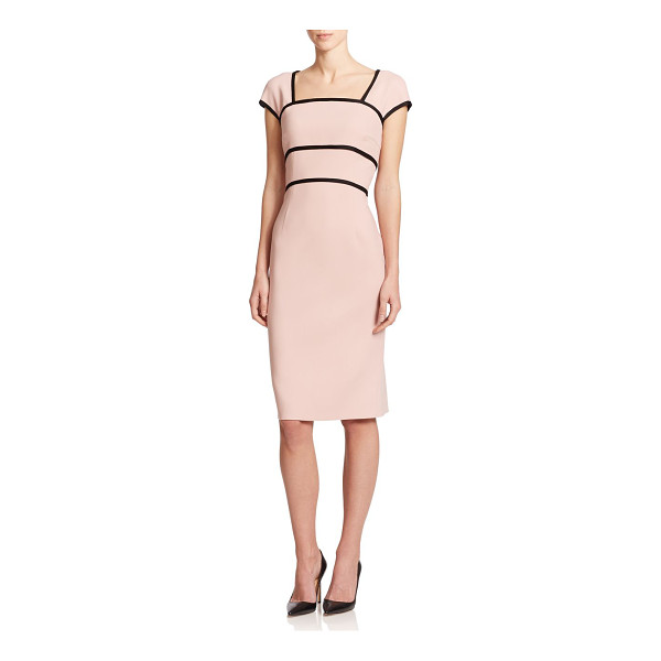 ESCADA Wool cap-sleeve sheath - Contrast piped trim structures this polished sheath,...