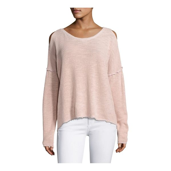 FEEL THE PIECE lupe cold shoulder top - Oversized knit-top with cold shoulders in solid hue. Ribbed...