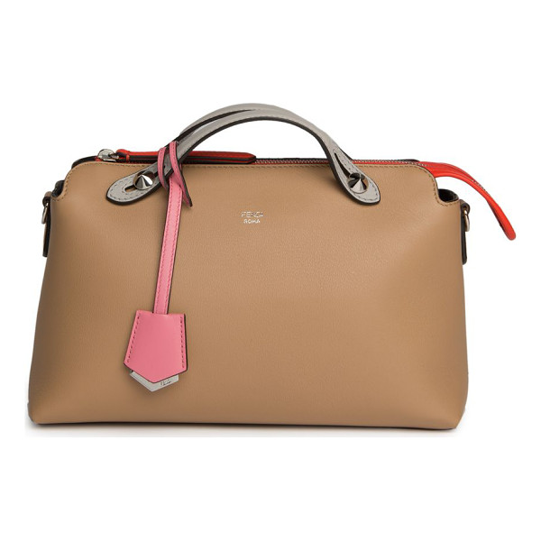 FENDI By the way small colorblock leather satchel - Spacious colorblock leather satchel with stud details. Dual...