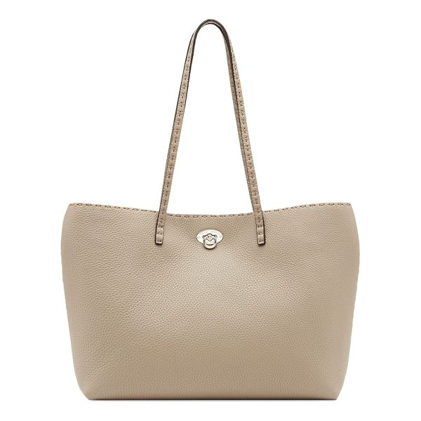 FENDI carla east-west leather tote - Decorative stitching frames luxe leather tote. Double top...