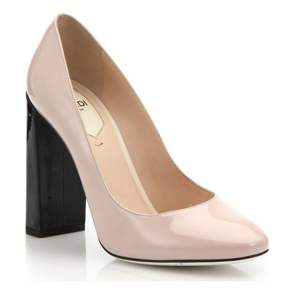 FENDI colorblock patent leather pumps - Minimal colorblocking makes a bold statement in these...