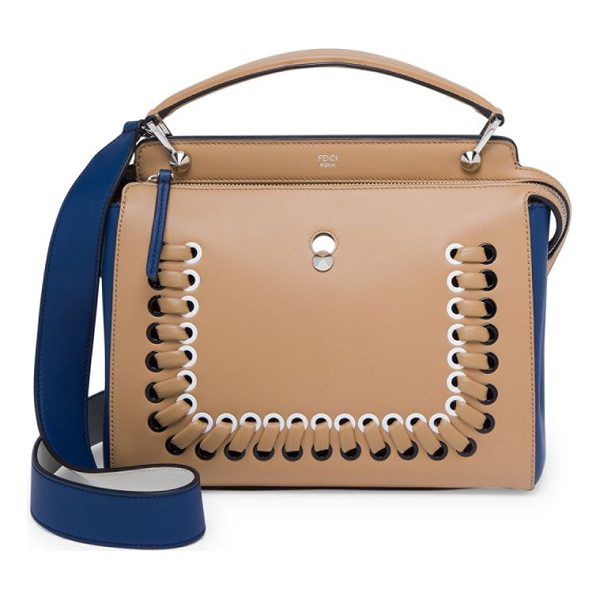 FENDI dotcom click whipstitched leather satchel - Square two-tone leather shape with whipstitched trim. Top...