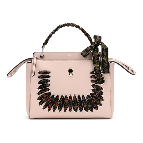 FENDI dot.com ribbon-laced leather top handle bag - Boxy leather shape with laced floral ribbon detail.