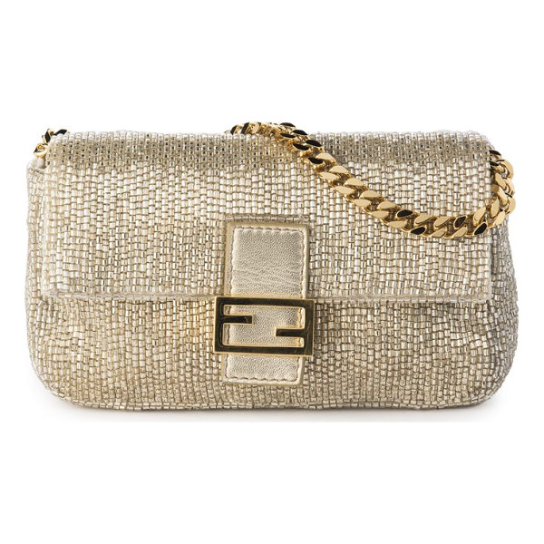 FENDI embroidered beaded micro baguette - Polished beaded embroidery textures baguette. Chain strap....