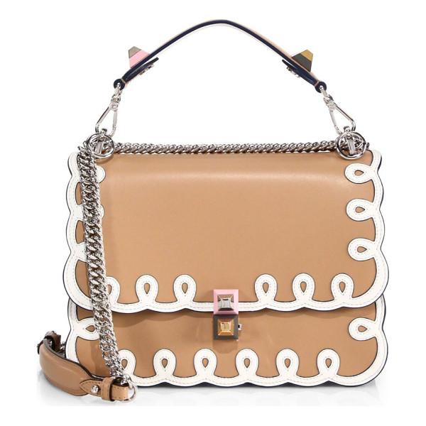 FENDI kan i leather chain shoulder bag - Structured leather flap style trimmed with scrollwork....