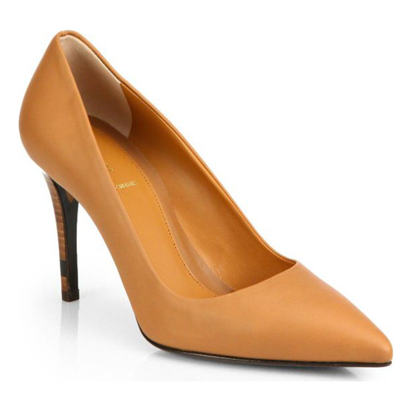 FENDI Leather point-toe pumps - A signature Fendi colorblock heel lifts this supple leather...