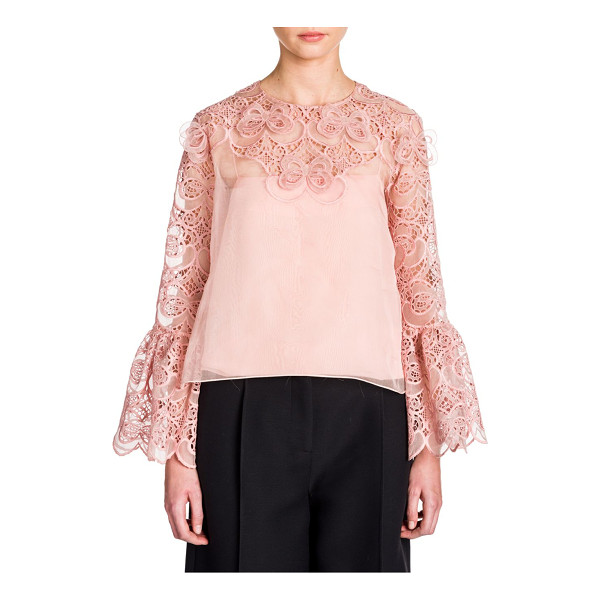 FENDI organza lace bell-sleeve blouse - Romantic bell sleeve blouse with intricate broderie...