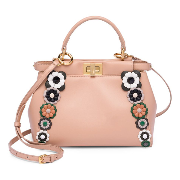 FENDI mini peekaboo floral-embellished leather handbag - Whimsical floral appliques frame soft leather handbag. Top...