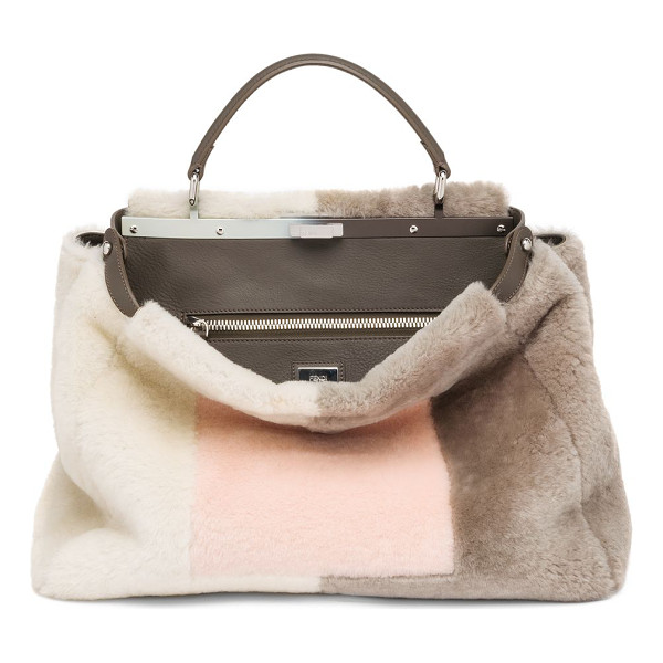 FENDI peekaboo large marquetry sheep fur satchel - In a geometric motif inspired by marquetry, this Fendi