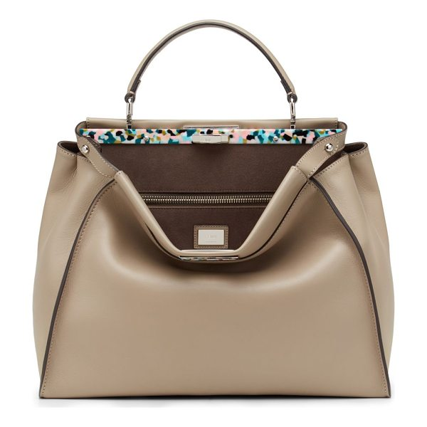 FENDI peekaboo large tortoise-accented satchel - Soft, buttery leather is crafted into Fendi's signature...