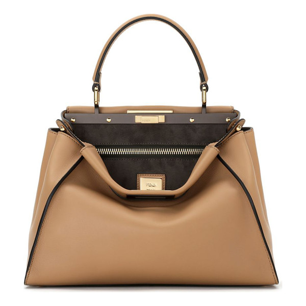 FENDI peekaboo medium leather satchel - Soft, buttery leather is crafted into Fendi's signature