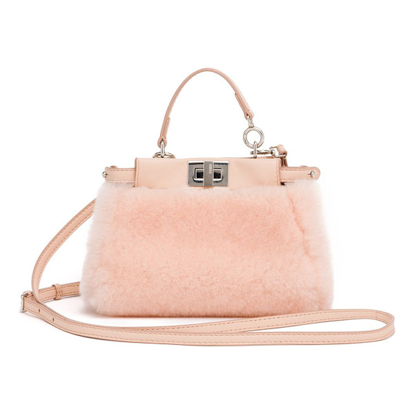 FENDI peekaboo micro shearling satchel - A petite, charm-sized version of the coveted Fendi classic,
