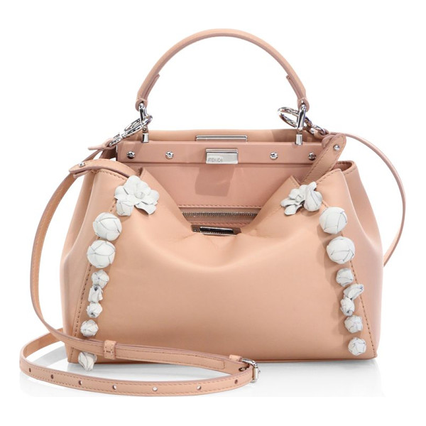 FENDI peekaboo mini floral-embellished leather satchel - Iconic mini leather satchel framed with floral appliques.