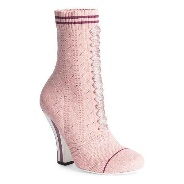 FENDI rockoko knit lace-up sock booties - Knit sock-inspired lace-up boot poised on striped heel....