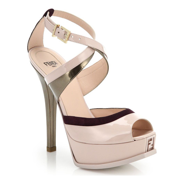 FENDI Sta metallic-trim patent leather sandals - Shots of metallic and peeks of suede punctuate these modern...