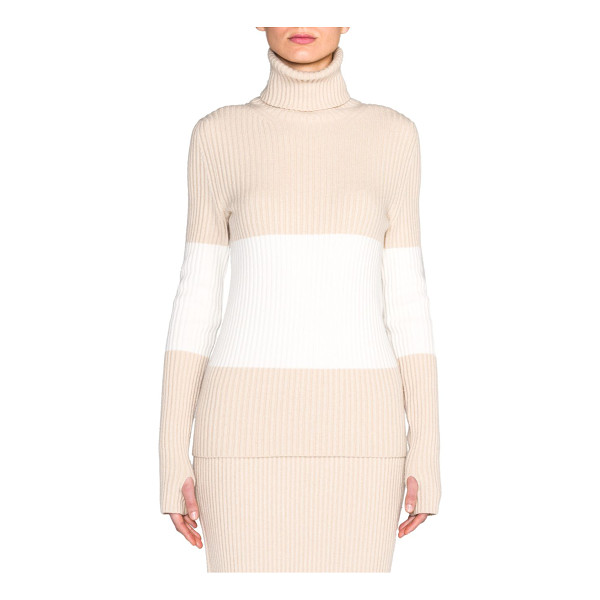 FENDI Stretch cashmere turtleneck sweater - This softly-hued two-tone sweater, of luxurious cashmere...